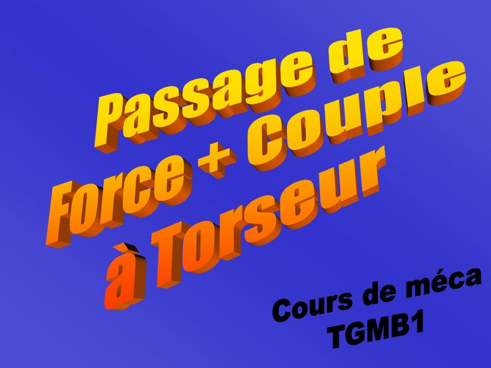 : {T 1/2 } =   A         F 1/2  0 = A          X 0 Y 0 Z 0 = B           F 1/2  BA   F 1/2 un glisseur d'axe  Force + Couple  Torseur 1- Passage de force à torseur Si l'action d'un solide 1 sur le solide 2 peut se modéliser par la force  F 1/2 X Y Z appliquée en A.
