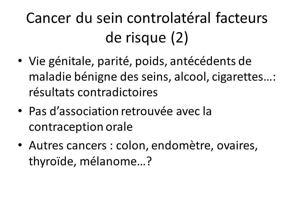 Cancer du sein controlatéral facteurs de risque (2) Vie génitale, parité, poids, antécédents de maladie bénigne des seins, alcool, cigarettes…: résult