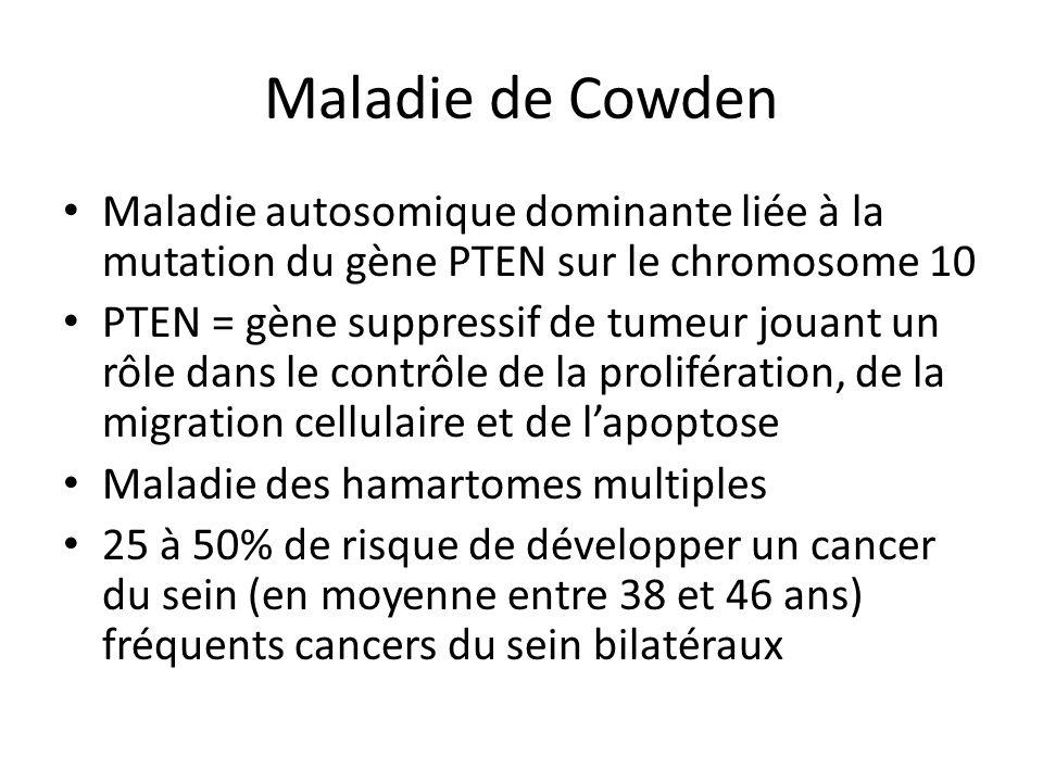 Maladie de Cowden Maladie autosomique dominante liée à la mutation du gène PTEN sur le chromosome 10 PTEN = gène suppressif de tumeur jouant un rôle d