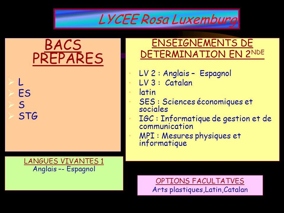 LYCEE Rosa Luxemburg BACS PREPARES  L  ES  S  STG ENSEIGNEMENTS DE DETERMINATION EN 2 NDE LV 2 : Anglais – Espagnol LV 3 : Catalan latin SES : Sci