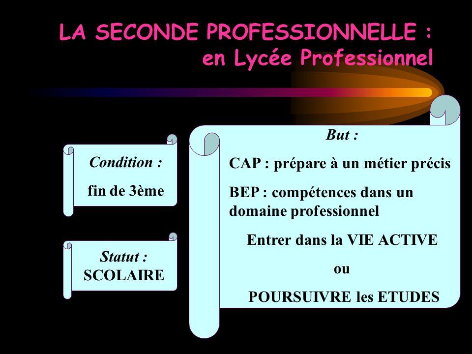 LA SECONDE PROFESSIONNELLE : en Lycée Professionnel Condition : fin de 3ème But : CAP : prépare à un métier précis BEP : compétences dans un domaine p