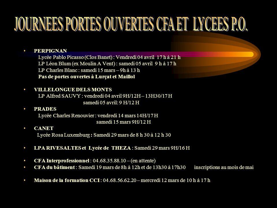 PERPIGNAN Lycée Pablo Picasso (Clos Banet) : Vendredi 04 avril 17 h à 21 h LP Léon Blum (ex Moulin A Vent) : samedi 05 avril 9 h à 17 h LP Charles Bla