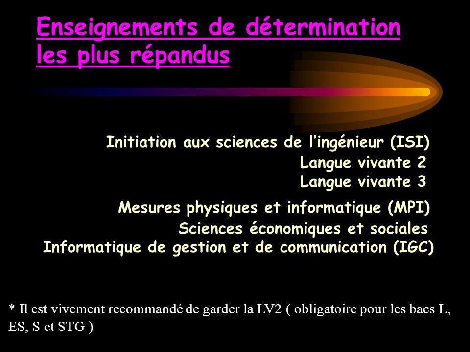 Enseignements de détermination les plus répandus Initiation aux sciences de l'ingénieur (ISI) Langue vivante 2 Langue vivante 3 Mesures physiques et i