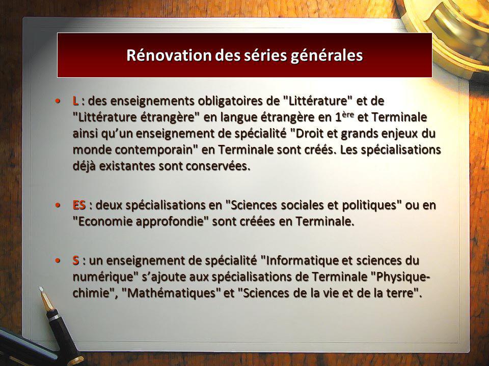 Rénovation des séries générales L : des enseignements obligatoires de