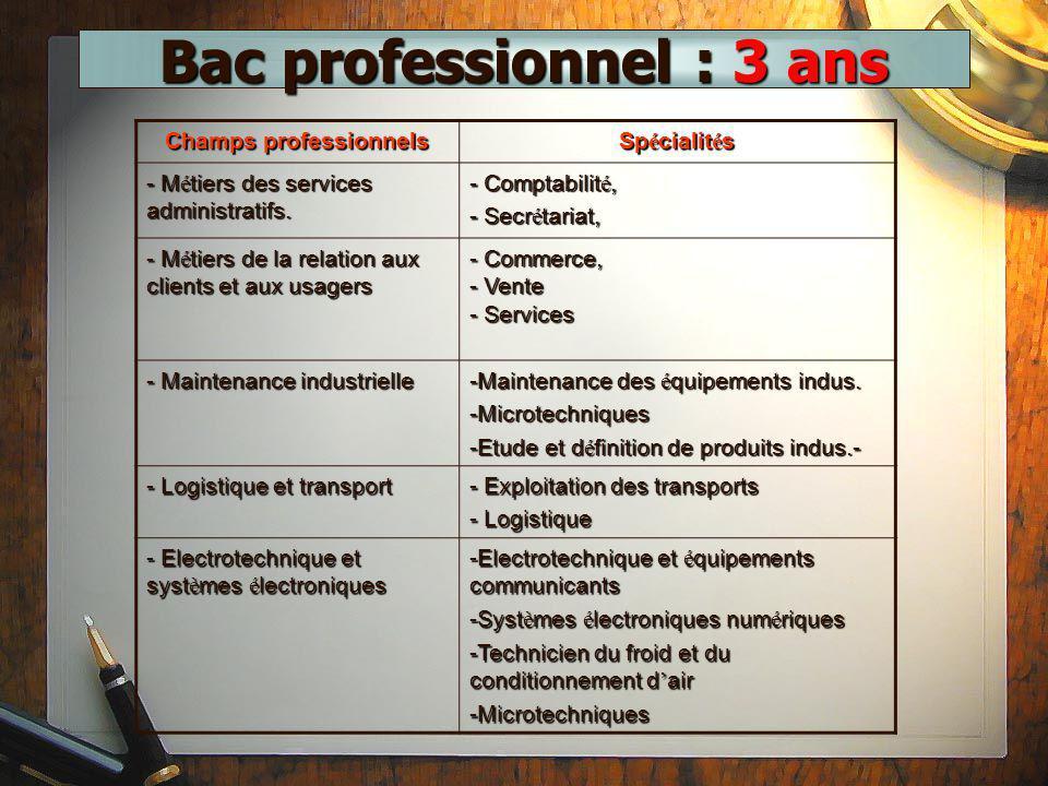 Bac professionnel : 3 ans Champs professionnels Sp é cialit é s - M é tiers des services administratifs. - Comptabilit é, - Secr é tariat, - M é tiers
