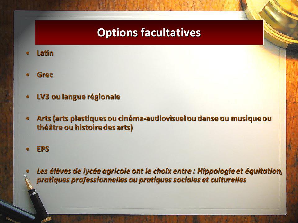 LatinLatin GrecGrec LV3 ou langue régionaleLV3 ou langue régionale Arts (arts plastiques ou cinéma-audiovisuel ou danse ou musique ou théâtre ou histo