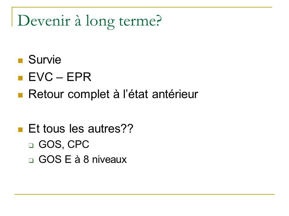 Devenir à long terme.Survie EVC – EPR Retour complet à l'état antérieur Et tous les autres?.