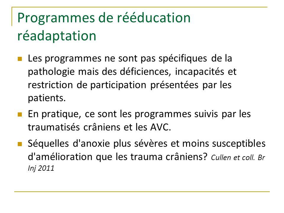 Programmes de rééducation réadaptation Les programmes ne sont pas spécifiques de la pathologie mais des déficiences, incapacités et restriction de participation présentées par les patients.