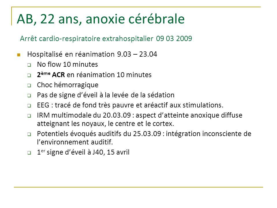 AB, 22 ans, anoxie cérébrale Arrêt cardio-respiratoire extrahospitalier 09 03 2009 Hospitalisé en réanimation 9.03 – 23.04  No flow 10 minutes  2 ème ACR en réanimation 10 minutes  Choc hémorragique  Pas de signe d'éveil à la levée de la sédation  EEG : tracé de fond très pauvre et aréactif aux stimulations.