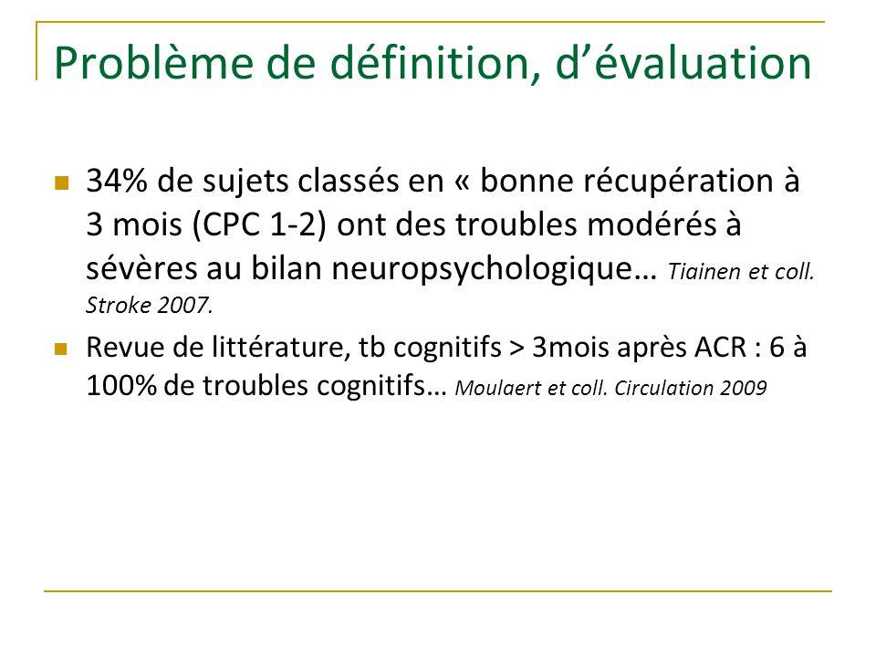 Problème de définition, d'évaluation 34% de sujets classés en « bonne récupération à 3 mois (CPC 1-2) ont des troubles modérés à sévères au bilan neuropsychologique… Tiainen et coll.