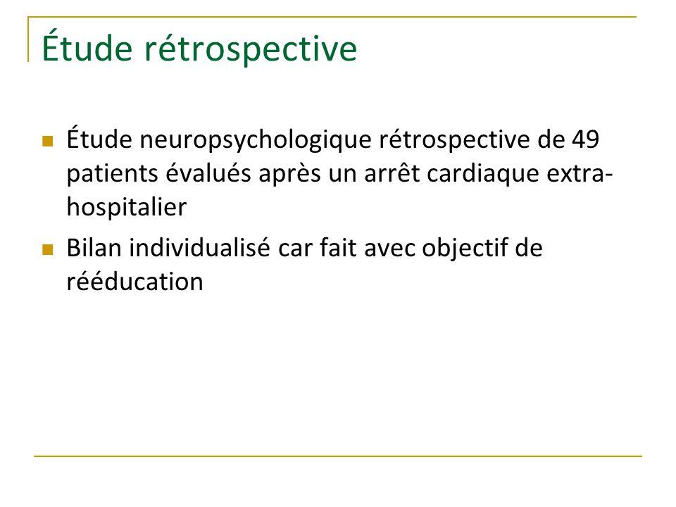 Étude rétrospective Étude neuropsychologique rétrospective de 49 patients évalués après un arrêt cardiaque extra- hospitalier Bilan individualisé car fait avec objectif de rééducation