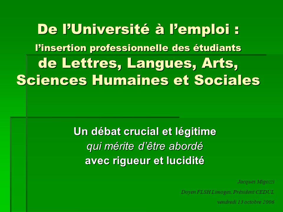 De l'Université à l'emploi : l'insertion professionnelle des étudiants de Lettres, Langues, Arts, Sciences Humaines et Sociales Un débat crucial et lé