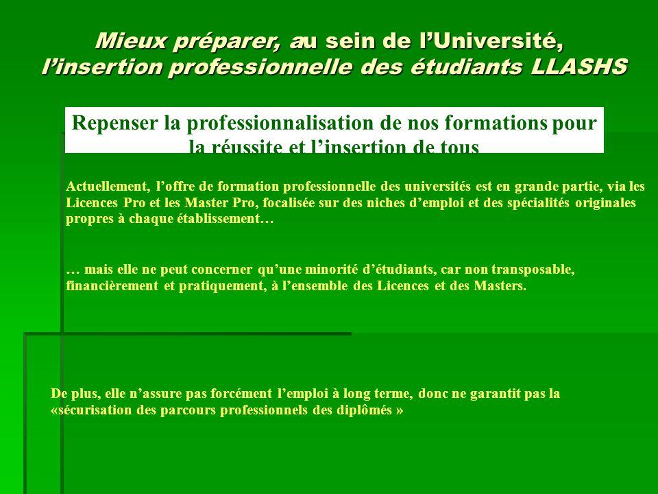 Repenser la professionnalisation de nos formations pour la réussite et l'insertion de tous Actuellement, l'offre de formation professionnelle des univ