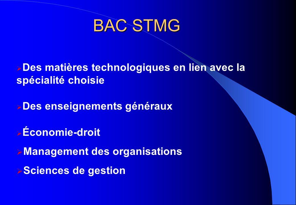 BAC STMG  Des matières technologiques en lien avec la spécialité choisie  Des enseignements généraux  Économie-droit  Management des organisations