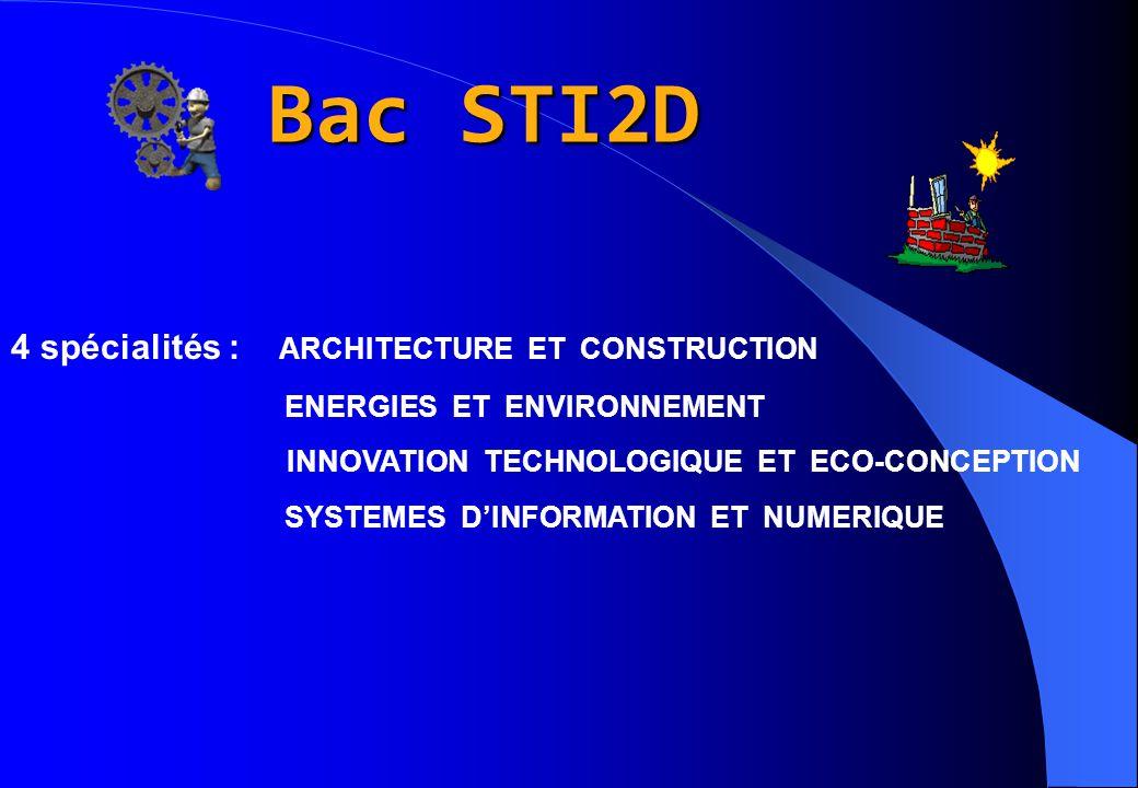 Bac STI2D 4 spécialités : ARCHITECTURE ET CONSTRUCTION ENERGIES ET ENVIRONNEMENT INNOVATION TECHNOLOGIQUE ET ECO-CONCEPTION SYSTEMES D'INFORMATION ET