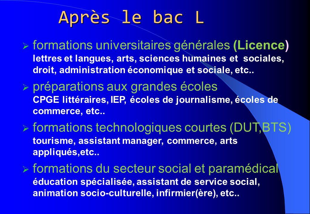 Après le bac L  formations universitaires générales (Licence) lettres et langues, arts, sciences humaines et sociales, droit, administration économiq