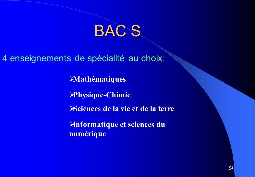 51  Mathématiques  Physique-Chimie  Sciences de la vie et de la terre  Informatique et sciences du numérique BAC S 4 enseignements de spécialité a