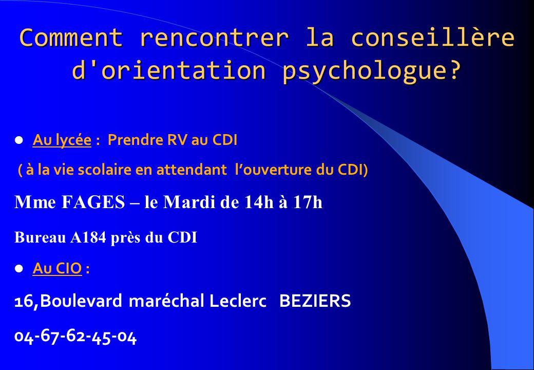 Comment rencontrer la conseillère d'orientation psychologue? Au lycée : Prendre RV au CDI ( à la vie scolaire en attendant l'ouverture du CDI) Mme FAG
