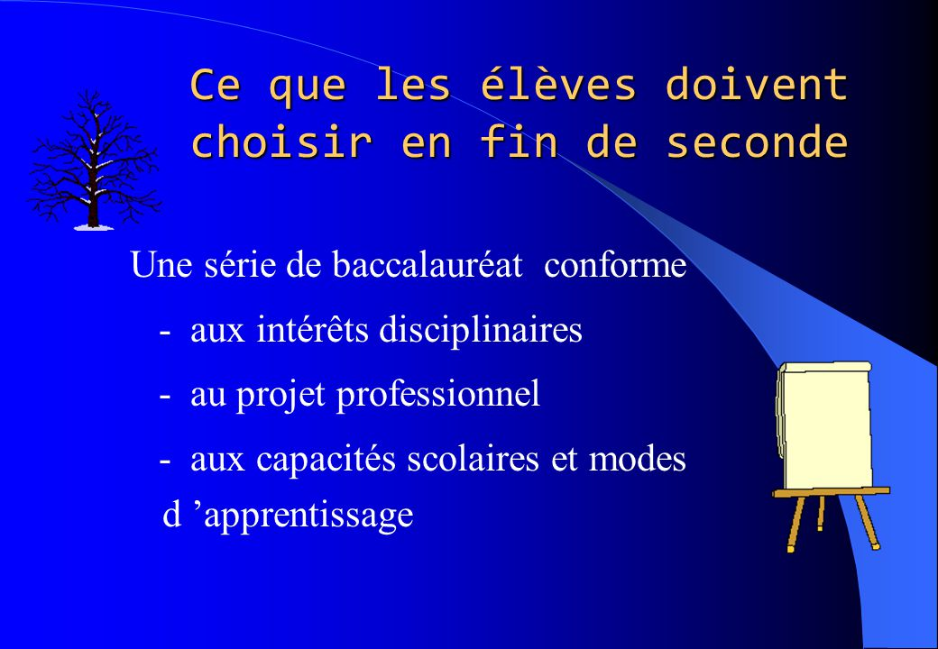 Ce que les élèves doivent choisir en fin de seconde Une série de baccalauréat conforme - aux intérêts disciplinaires - au projet professionnel - aux c