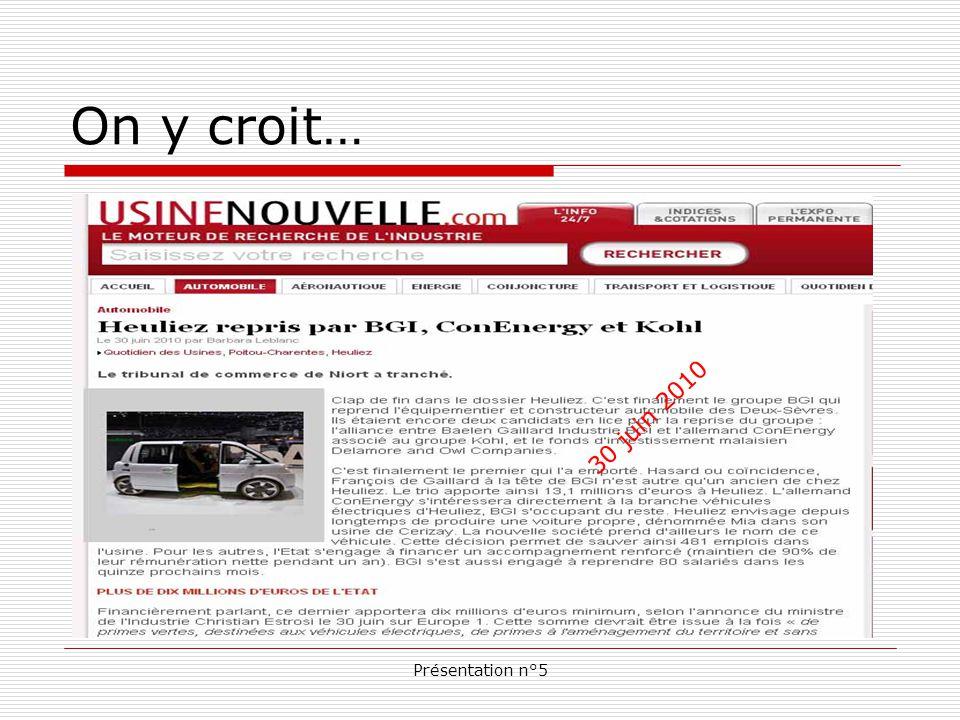 Présentation n°5 Au lendemain de la mise en redressement judiciaire de l équipementier automobile, on dénombre trois candidats repreneurs.