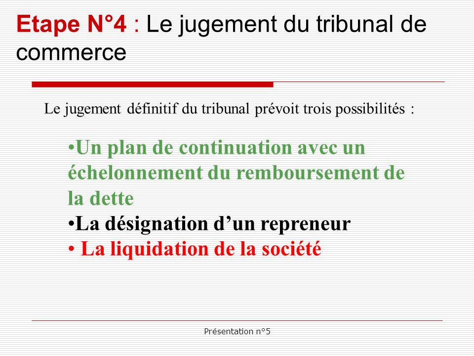 Présentation n°5 Etape N°4 : Le jugement du tribunal de commerce Le jugement définitif du tribunal prévoit trois possibilités : Un plan de continuation avec un échelonnement du remboursement de la dette La désignation d'un repreneur La liquidation de la société