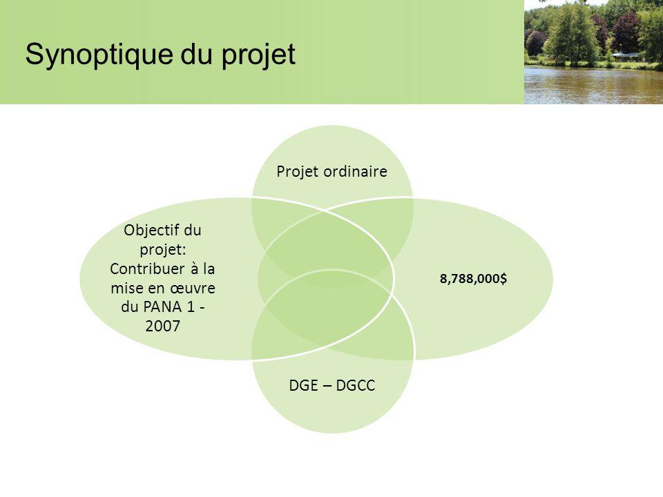 Synoptique du projet Projet ordinaire 8,788,000$ DGE – DGCC Objectif du projet: Contribuer à la mise en œuvre du PANA 1 - 2007