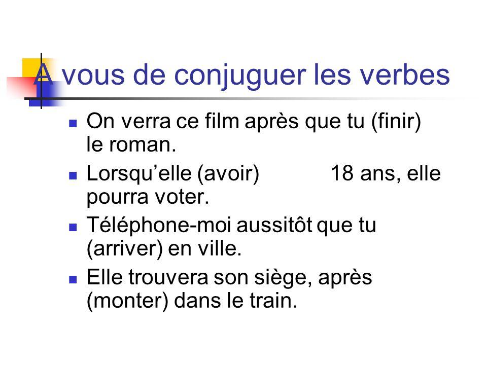 A vous de conjuguer les verbes On verra ce film après que tu (finir) le roman.
