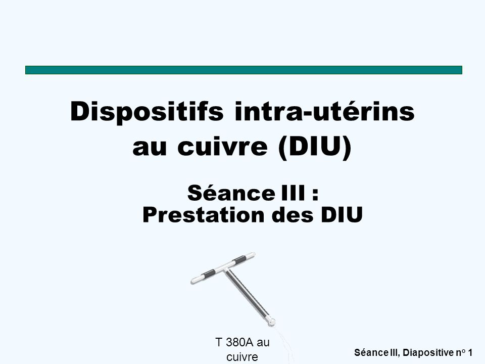 Séance III, Diapositive n o 2 Vous pourriez peut-être obtenir votre DIU dès maintenant DIU au cuivre Les DIU peuvent se poser dans les 2 premiers jours après un accouchement.