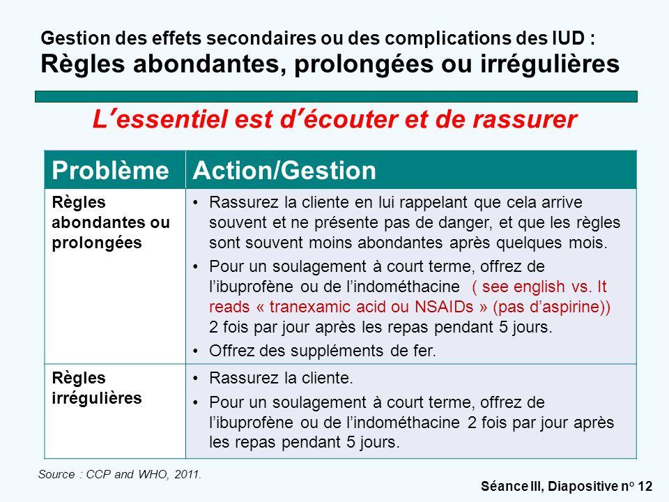 Séance III, Diapositive n o 12 Gestion des effets secondaires ou des complications des IUD : Règles abondantes, prolongées ou irrégulières Source : CC