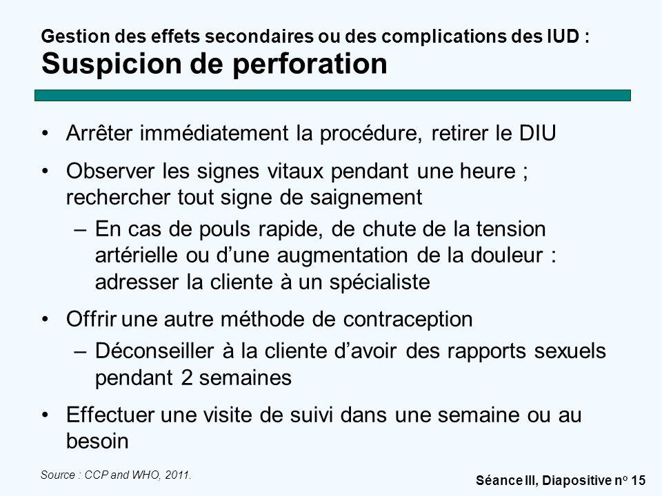 Séance III, Diapositive n o 15 Gestion des effets secondaires ou des complications des IUD : Suspicion de perforation Arrêter immédiatement la procédu