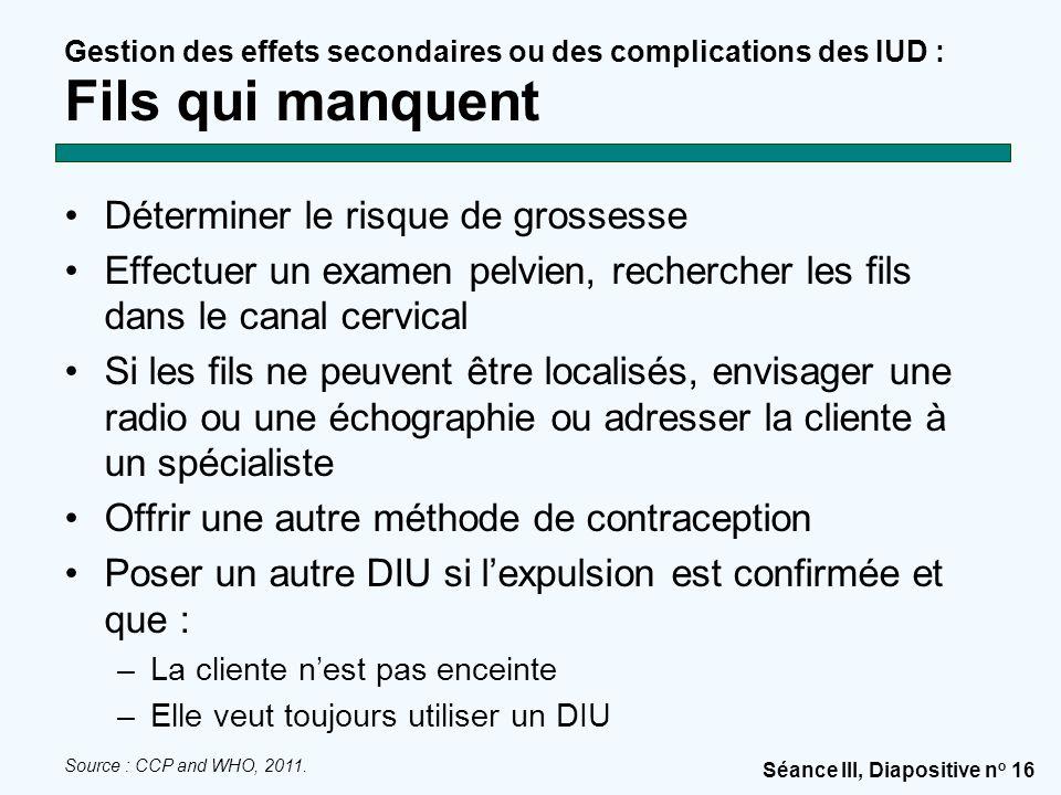 Séance III, Diapositive n o 16 Gestion des effets secondaires ou des complications des IUD : Fils qui manquent Déterminer le risque de grossesse Effec