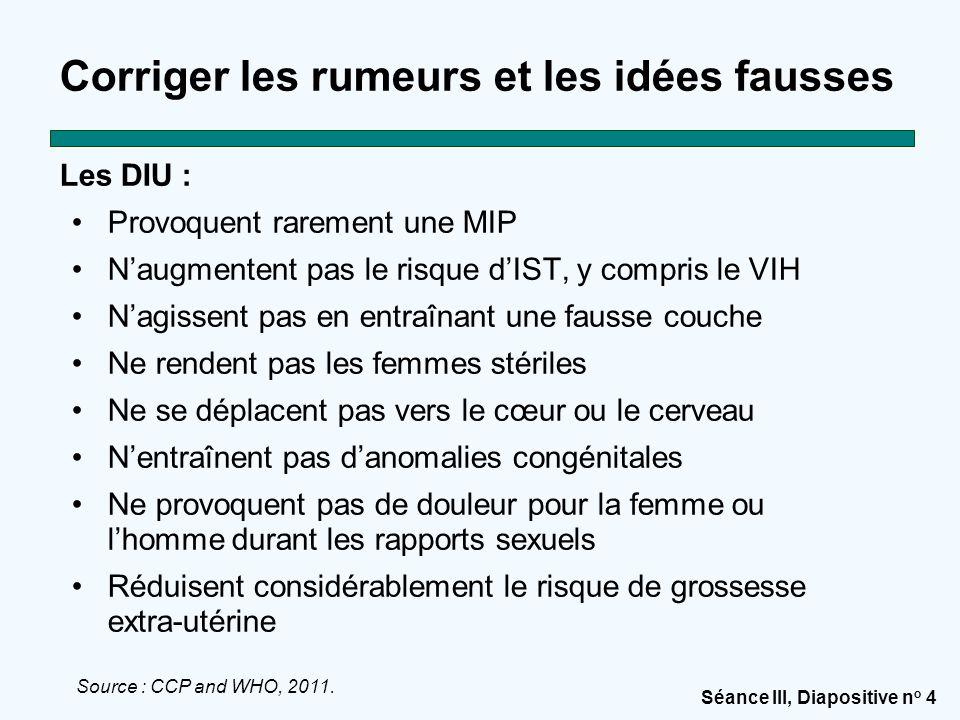 Séance III, Diapositive n o 4 Corriger les rumeurs et les idées fausses Les DIU : Provoquent rarement une MIP N'augmentent pas le risque d'IST, y comp