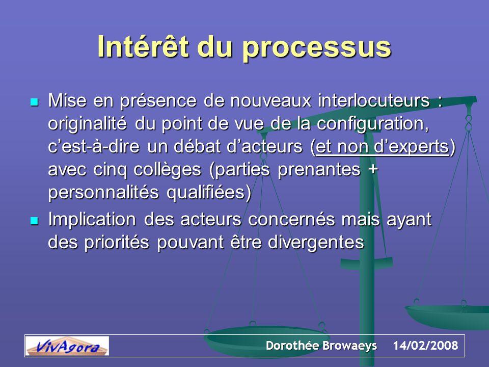 Dorothée Browaeys 14/02/2008 Intérêt du processus Mise en présence de nouveaux interlocuteurs : originalité du point de vue de la configuration, c'est