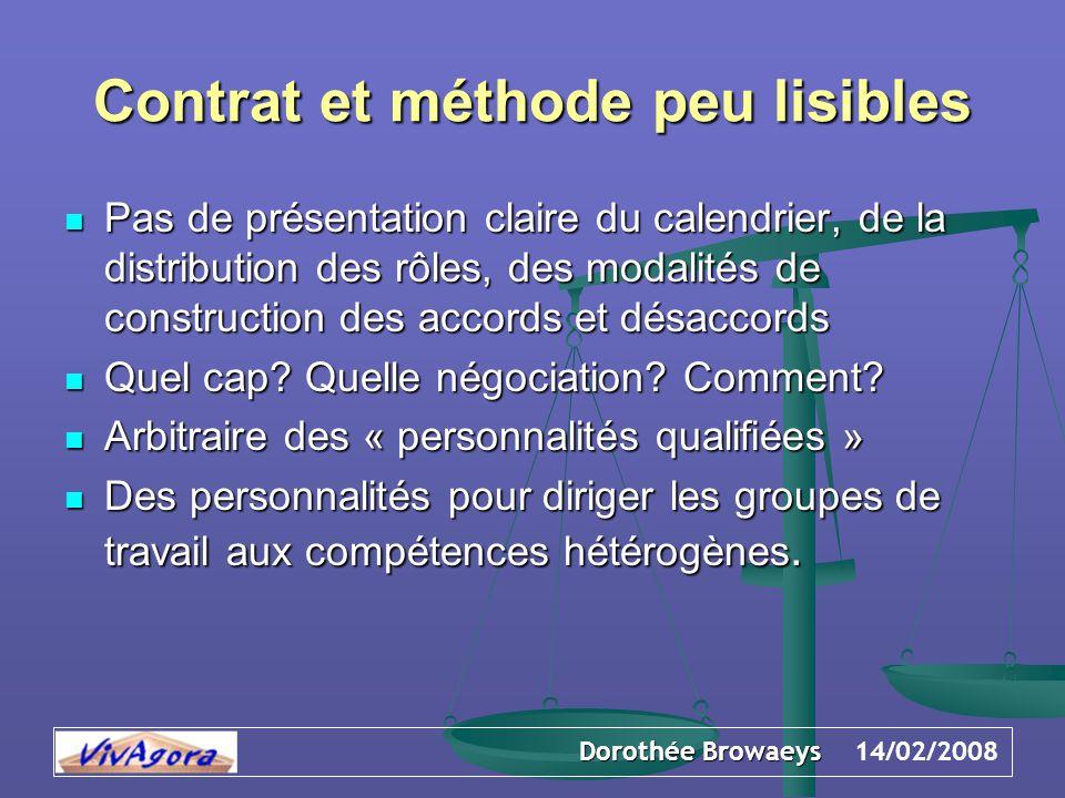 Dorothée Browaeys 14/02/2008 Contrat et méthode peu lisibles Pas de présentation claire du calendrier, de la distribution des rôles, des modalités de