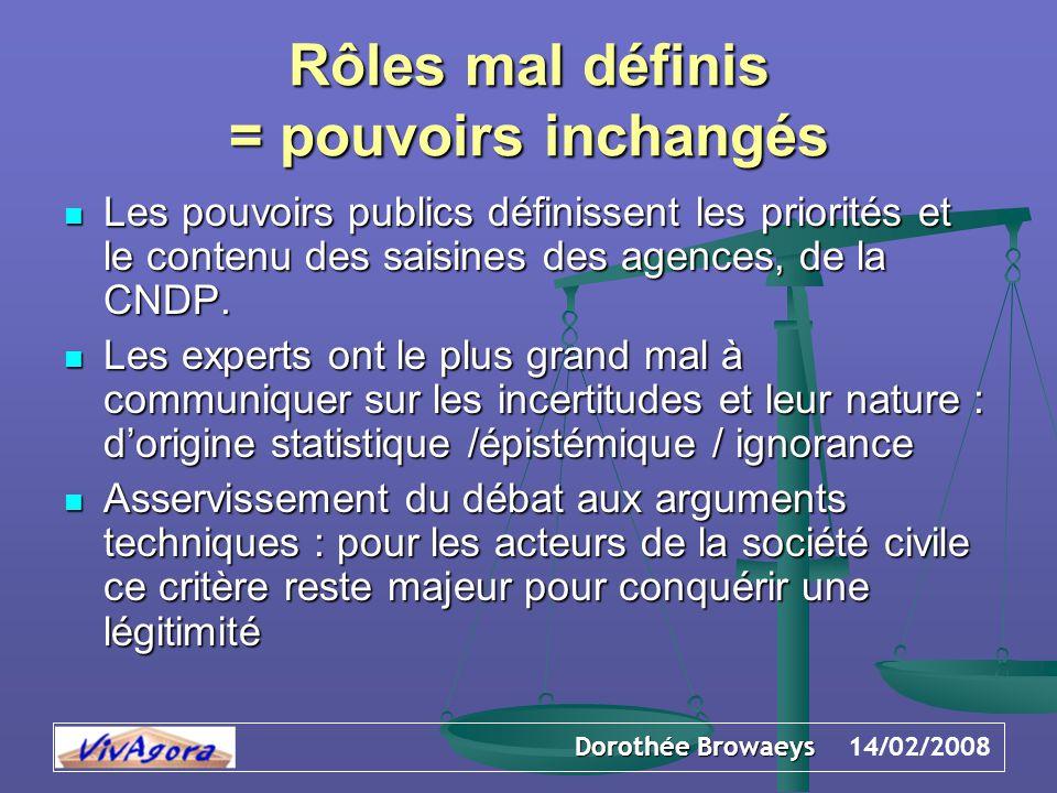 Dorothée Browaeys 14/02/2008 Rôles mal définis = pouvoirs inchangés Les pouvoirs publics définissent les priorités et le contenu des saisines des agences, de la CNDP.