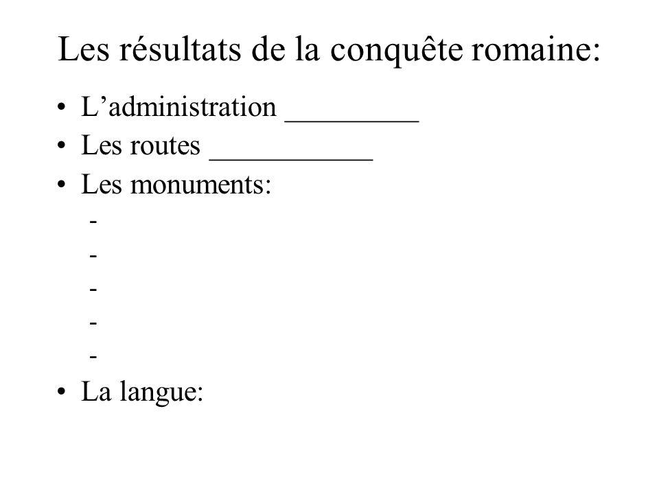 Les résultats de la conquête romaine: L'administration _________ Les routes ___________ Les monuments: - - - - - La langue: