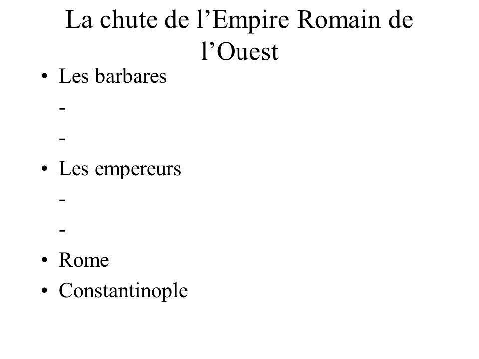 La chute de l'Empire Romain de l'Ouest Les barbares - - Les empereurs - - Rome Constantinople