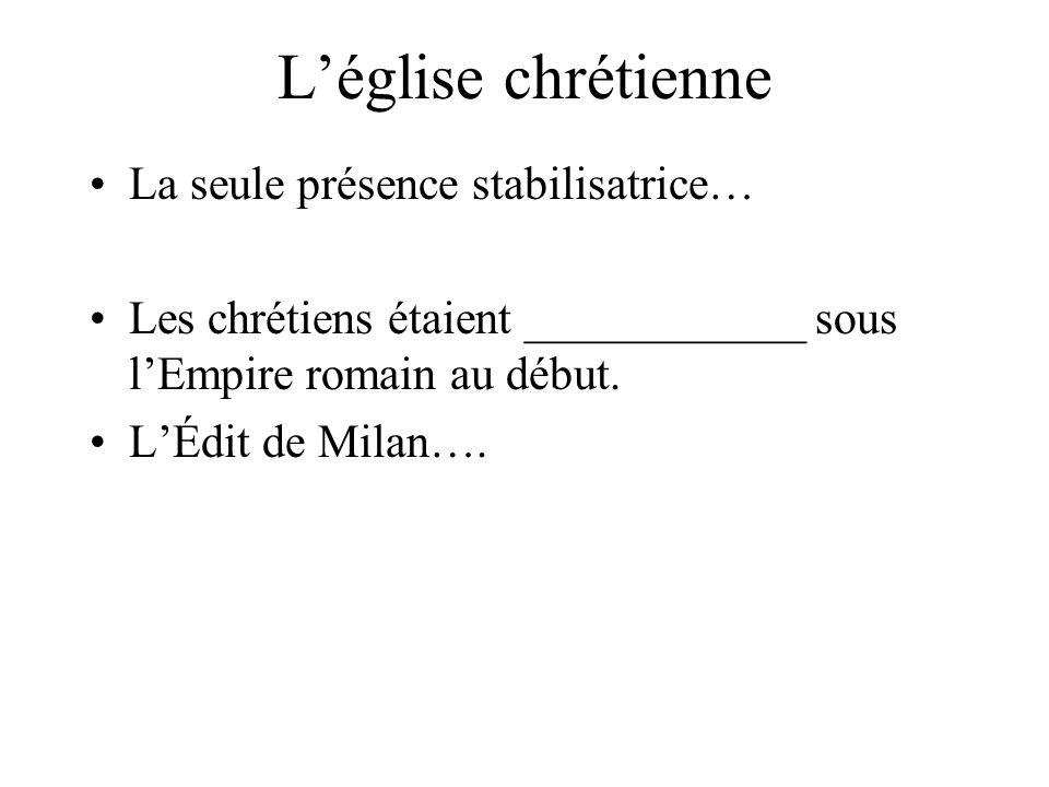 L'église chrétienne La seule présence stabilisatrice… Les chrétiens étaient ____________ sous l'Empire romain au début.