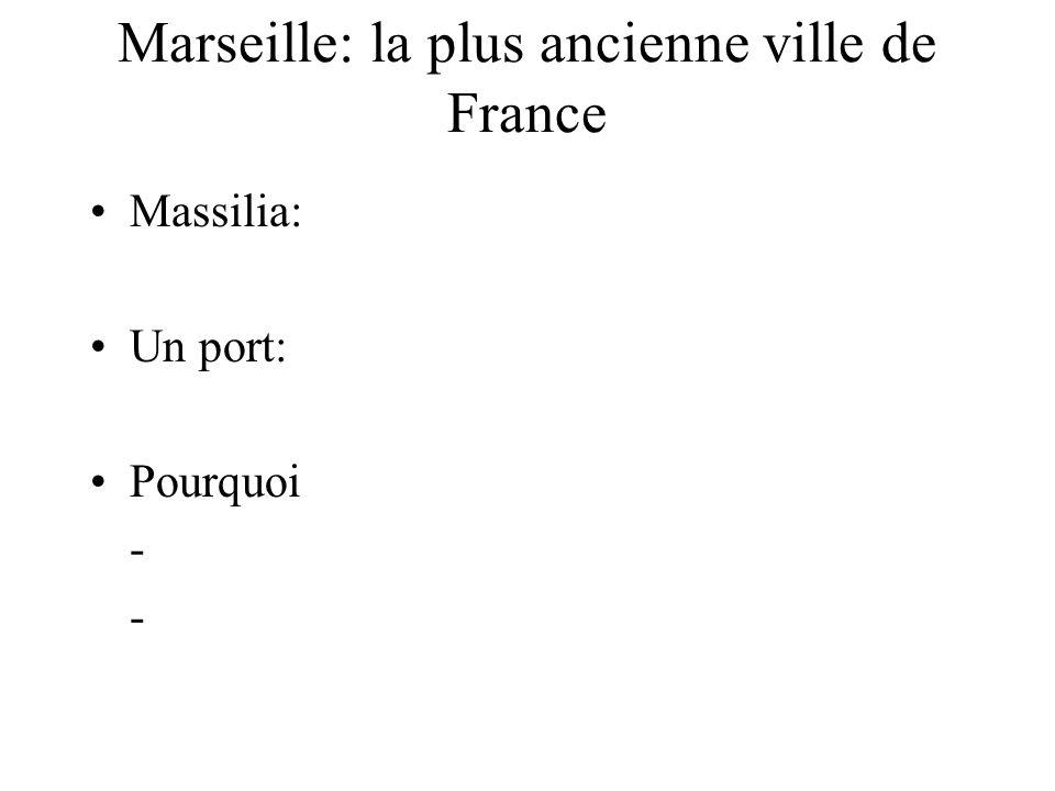 Marseille: la plus ancienne ville de France Massilia: Un port: Pourquoi - -