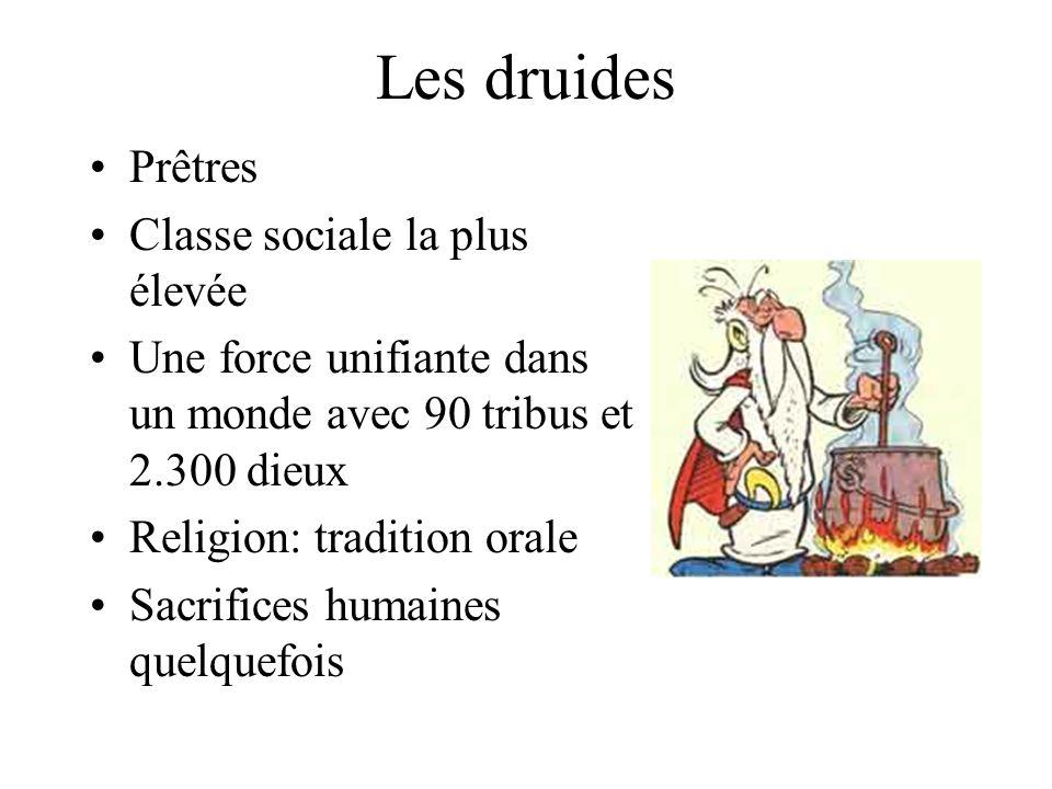 Les druides Prêtres Classe sociale la plus élevée Une force unifiante dans un monde avec 90 tribus et 2.300 dieux Religion: tradition orale Sacrifices humaines quelquefois