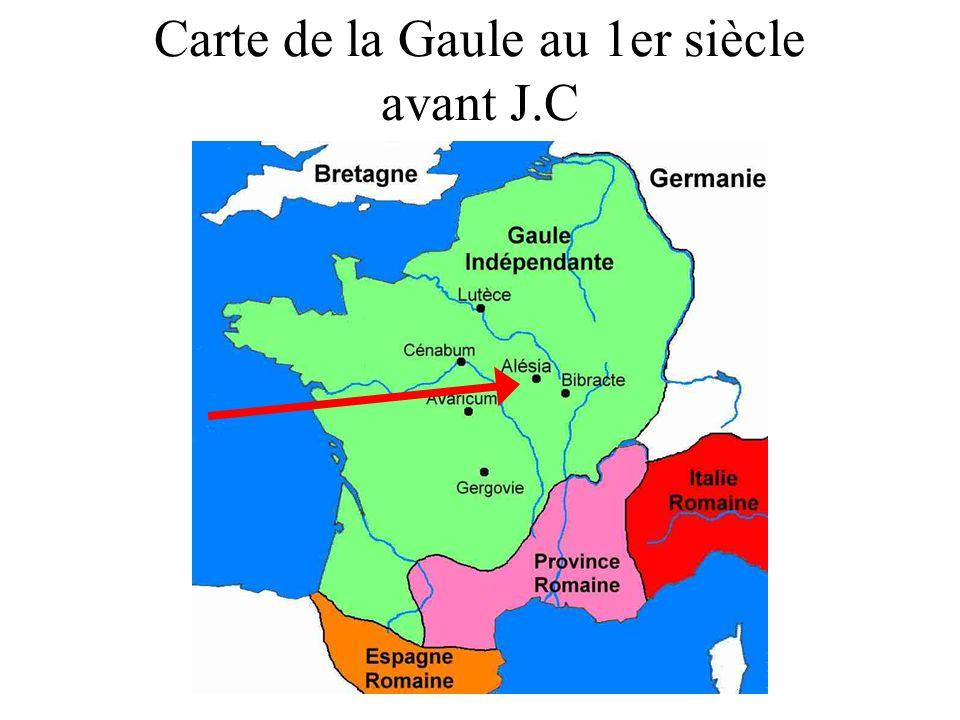 Carte de la Gaule au 1er siècle avant J.C