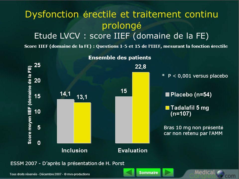 Tous droits réservés - Décembre 2007 - © mvs-productions Score IIEF (domaine de la FE) : Questions 1-5 et 15 de l ' IIEF, mesurant la fonction é rectile Dysfonction é rectile et traitement continu prolong é Etude LVCV : score IIEF (domaine de la FE) Ensemble des patients * P < 0,001 versus placebo Bras 10 mg non pr é sent é car non retenu par l ' AMM ESSM 2007 - D'après la présentation de H.