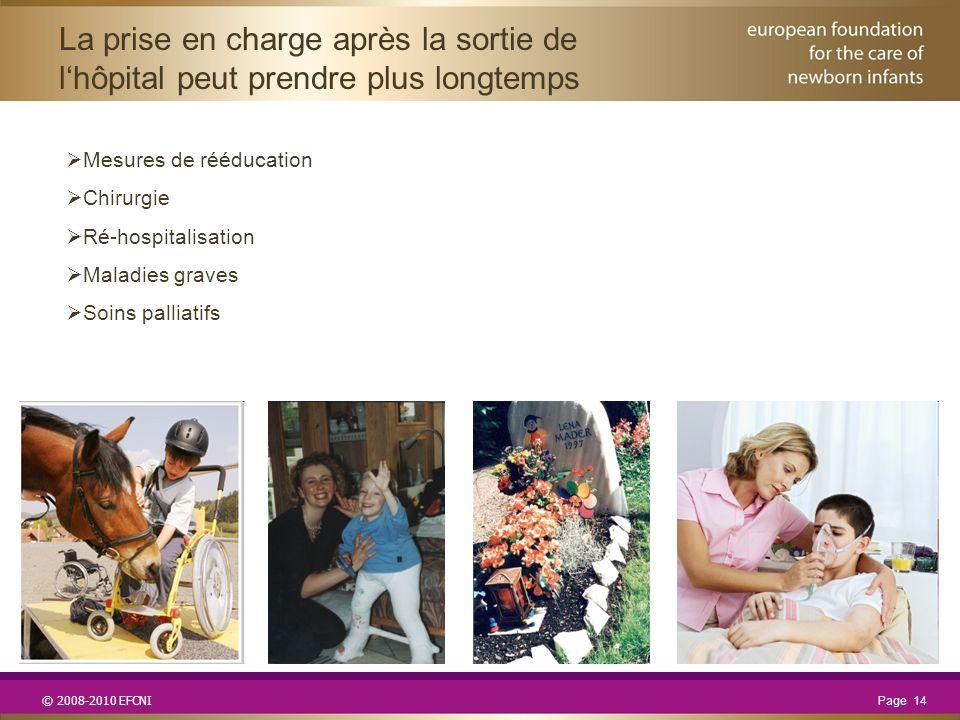 © 2008-2010 EFCNI  Mesures de rééducation  Chirurgie  Ré-hospitalisation  Maladies graves  Soins palliatifs La prise en charge après la sortie de l'hôpital peut prendre plus longtemps Page 14