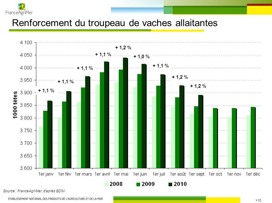 10 Renforcement du troupeau de vaches allaitantes Source : FranceAgriMer, d'après BDNI + 1,1 % + 1,2 % + 1,0 % + 1,1 % + 1,2 %