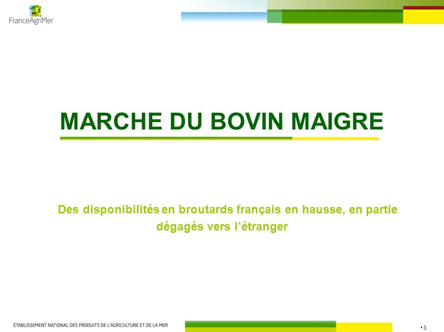 14 Remontée des prix des génisses au 2 e semestre + 0,5 % à 3,27 €/kg - 4,8 % / 2008 - 0,2 % à 3,87 €/kg - 3,1 % / 2008 UE : + 0,1 % à 3,14 €/kg - 4,3 % / 2008 MAJ Source : FranceAgriMer, Commission européenne