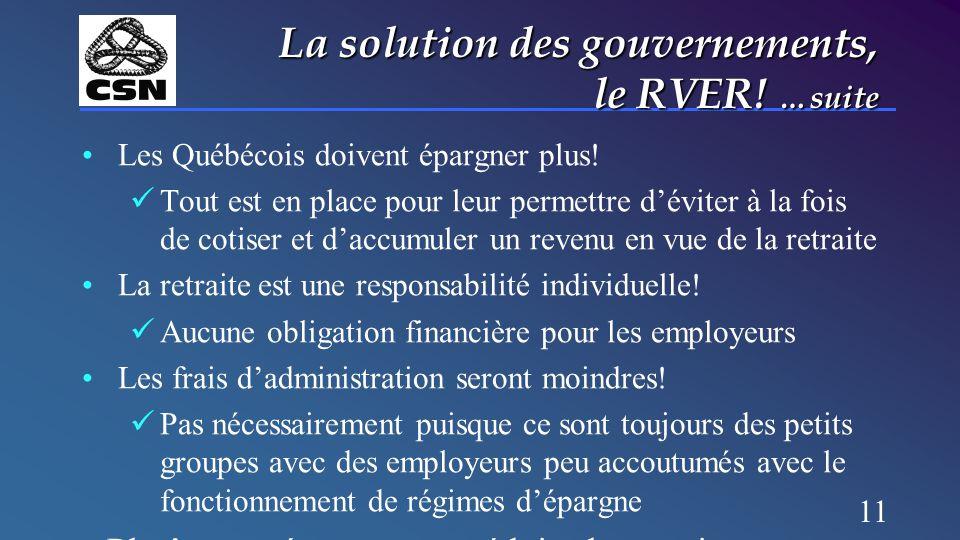 11 La solution des gouvernements, le RVER! …suite Les Québécois doivent épargner plus! Tout est en place pour leur permettre d'éviter à la fois de cot