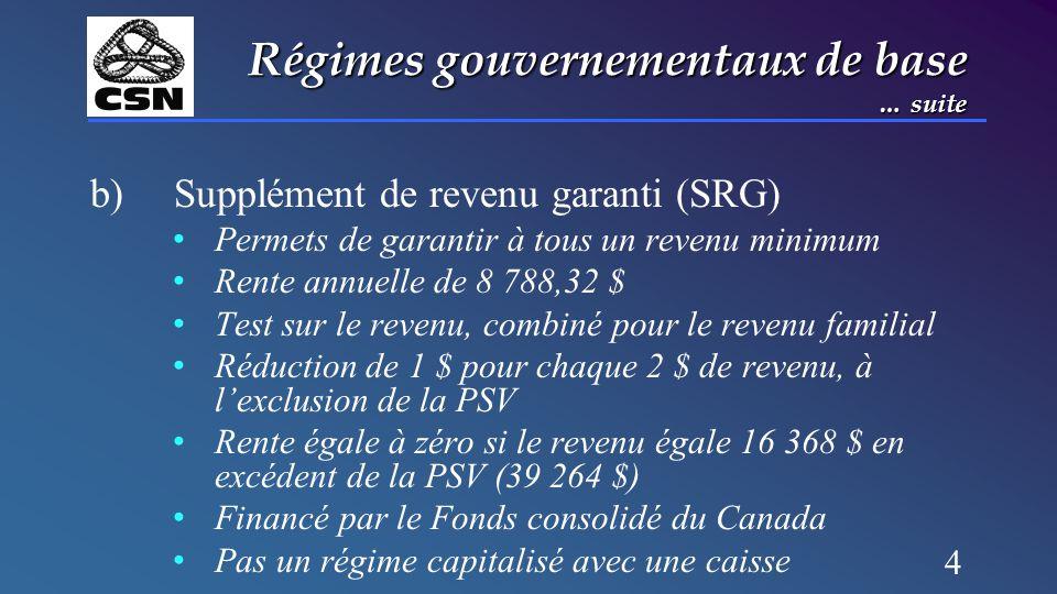 4 Régimes gouvernementaux de base … suite b) Supplément de revenu garanti (SRG) Permets de garantir à tous un revenu minimum Rente annuelle de 8 788,32 $ Test sur le revenu, combiné pour le revenu familial Réduction de 1 $ pour chaque 2 $ de revenu, à l'exclusion de la PSV Rente égale à zéro si le revenu égale 16 368 $ en excédent de la PSV (39 264 $) Financé par le Fonds consolidé du Canada Pas un régime capitalisé avec une caisse