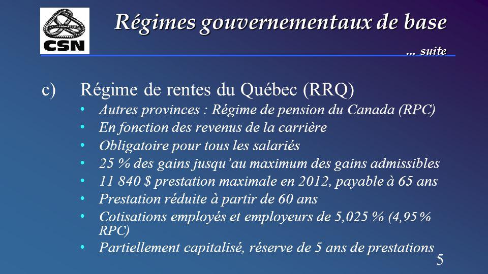 5 Régimes gouvernementaux de base … suite c)Régime de rentes du Québec (RRQ) Autres provinces : Régime de pension du Canada (RPC) En fonction des reve