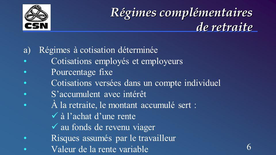 6 Régimes complémentaires de retraite a)Régimes à cotisation déterminée Cotisations employés et employeurs Pourcentage fixe Cotisations versées dans u