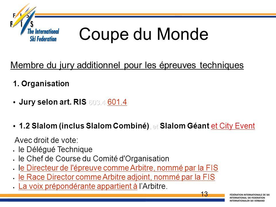 Coupe du Monde 13 1. Organisation 603.4 Jury selon art. RIS 603.4 601.4, et 1.2 Slalom (inclus Slalom Combiné), et Slalom Géant et City Event Avec dro